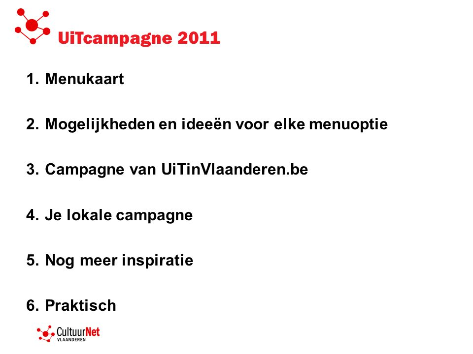 UiTcampagne 2011 Menukaart Mogelijkheden en ideeën voor elke menuoptie
