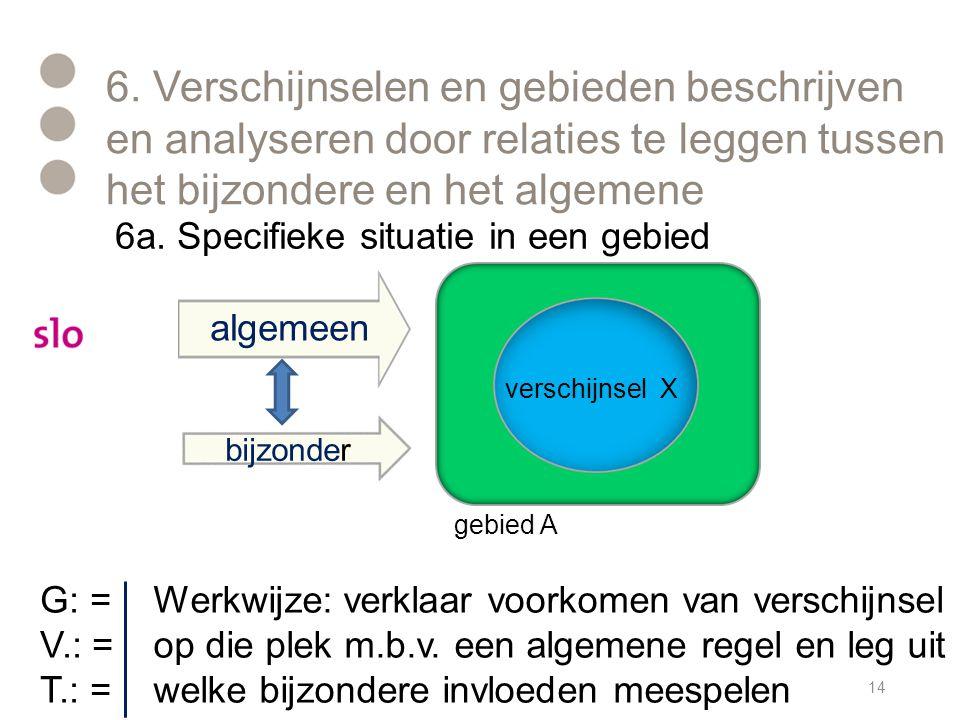 6. Verschijnselen en gebieden beschrijven en analyseren door relaties te leggen tussen het bijzondere en het algemene