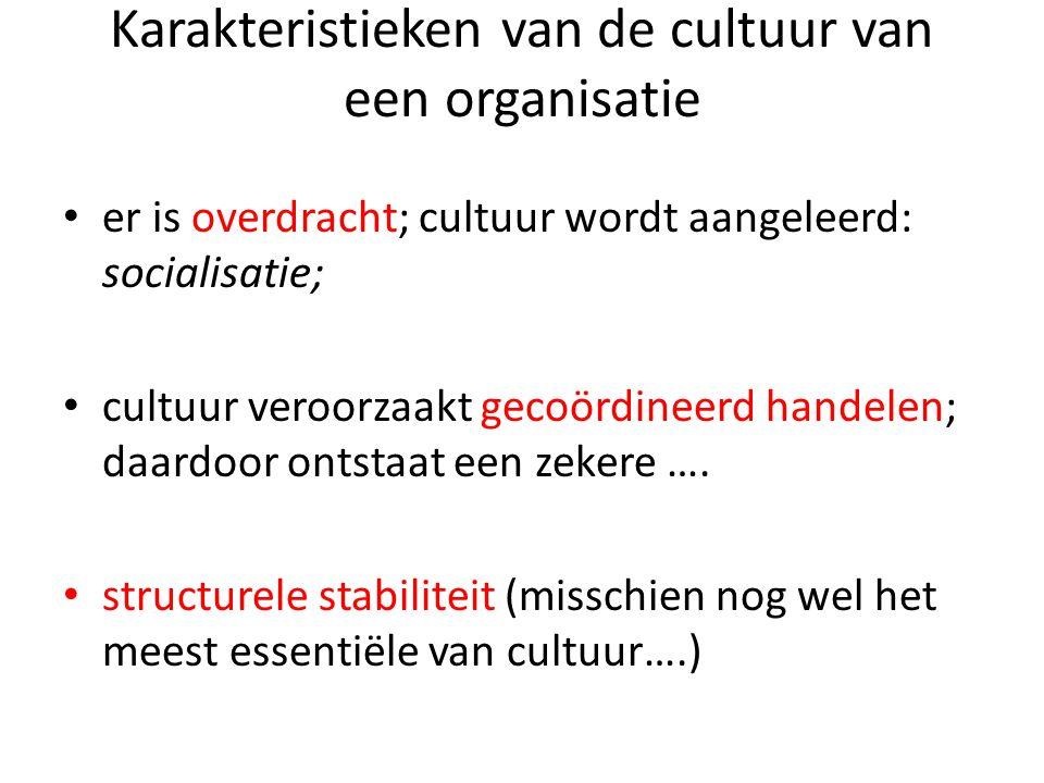 Karakteristieken van de cultuur van een organisatie