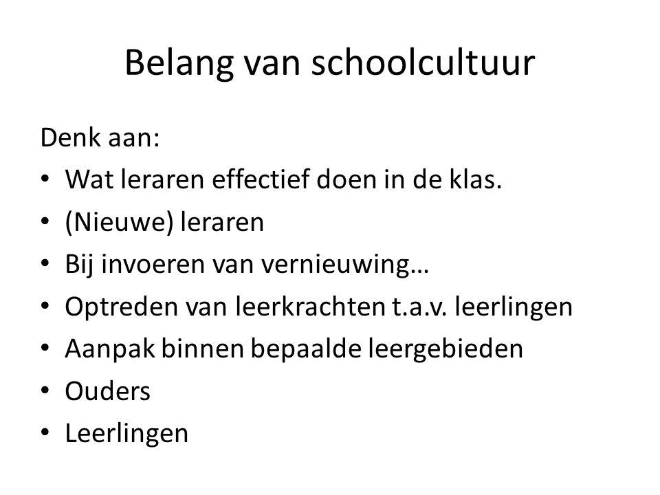 Belang van schoolcultuur