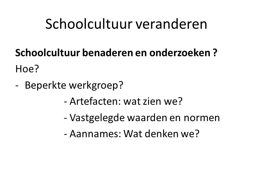 Schoolcultuur veranderen