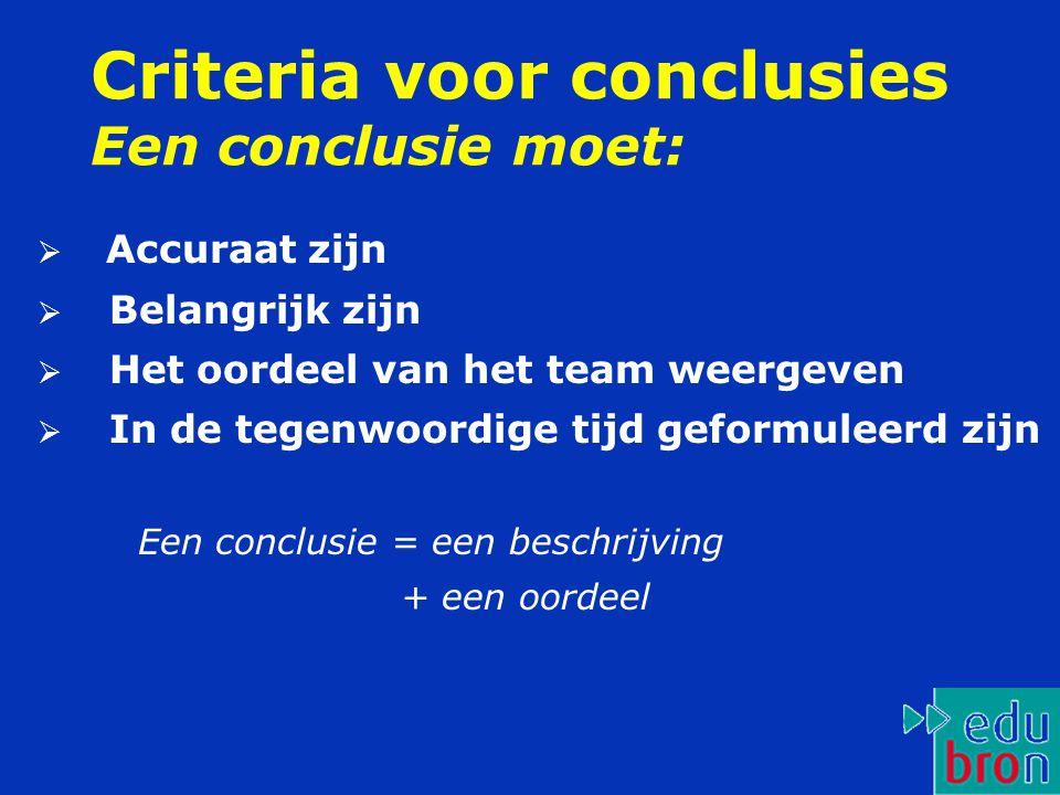 Criteria voor conclusies Een conclusie moet: