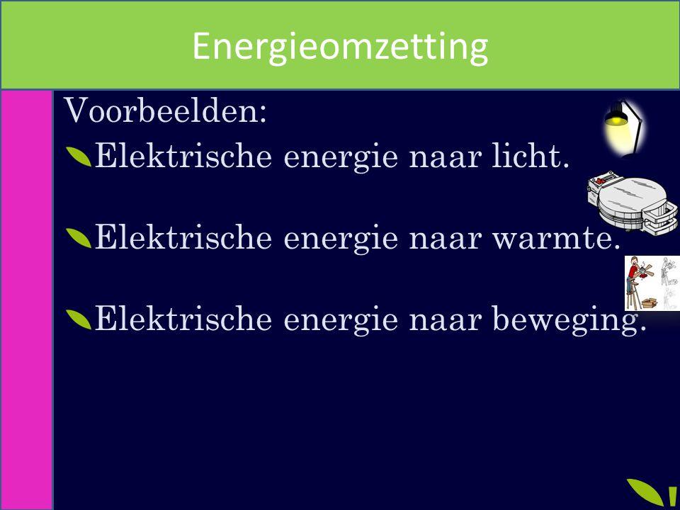 Energieomzetting Voorbeelden: Elektrische energie naar licht.