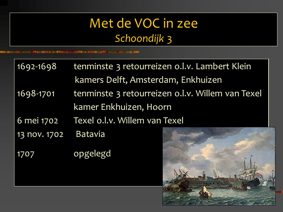 Met de VOC in zee Schoondijk 3