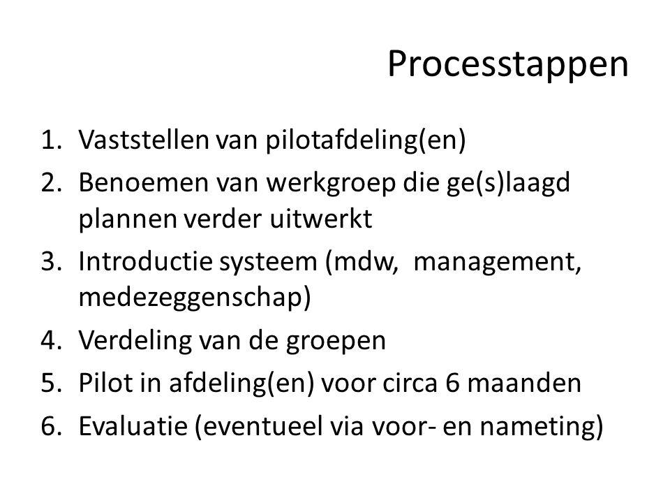Processtappen Vaststellen van pilotafdeling(en)