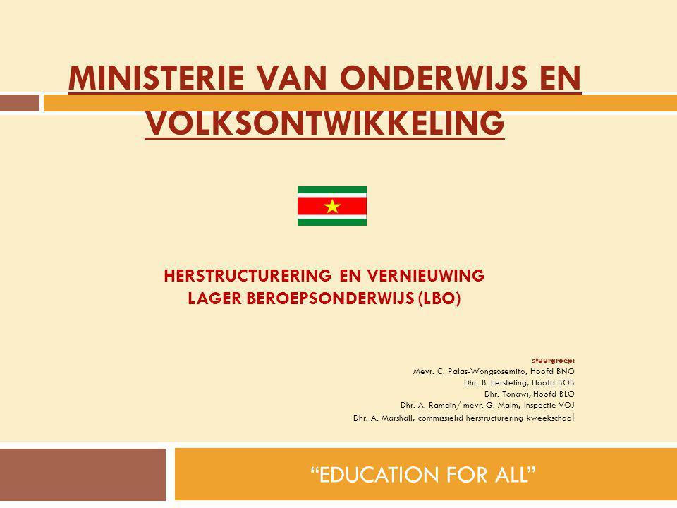Herstructurering EN VERNIEUWING Lager BeroepsOnderwijs (LBO)