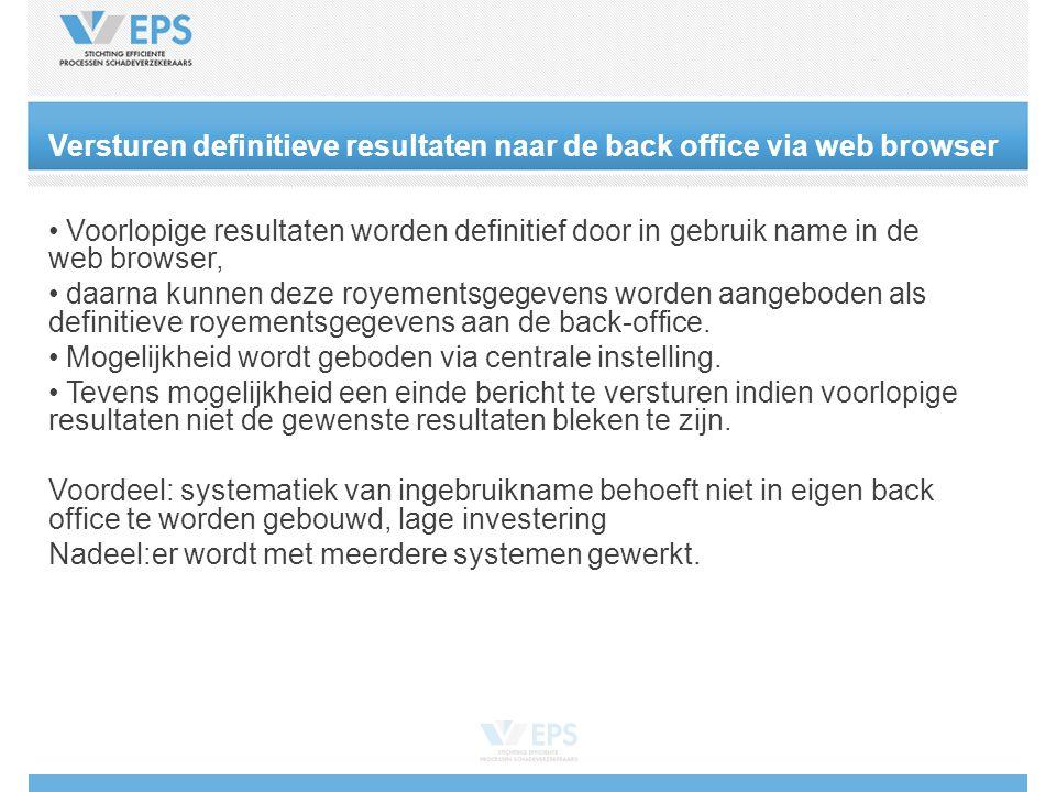 Versturen definitieve resultaten naar de back office via web browser