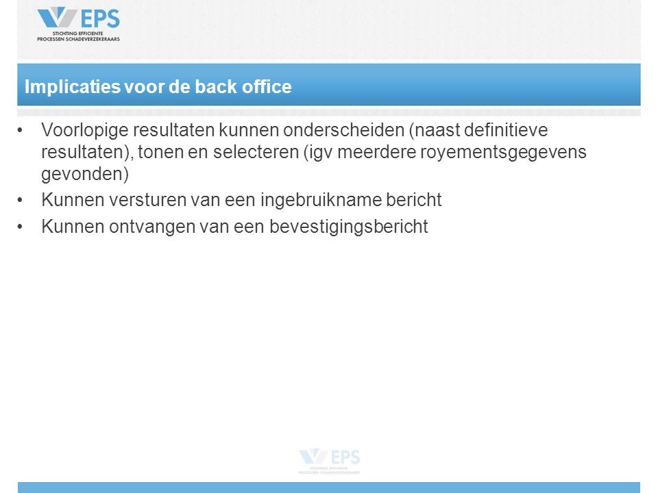 Implicaties voor de back office