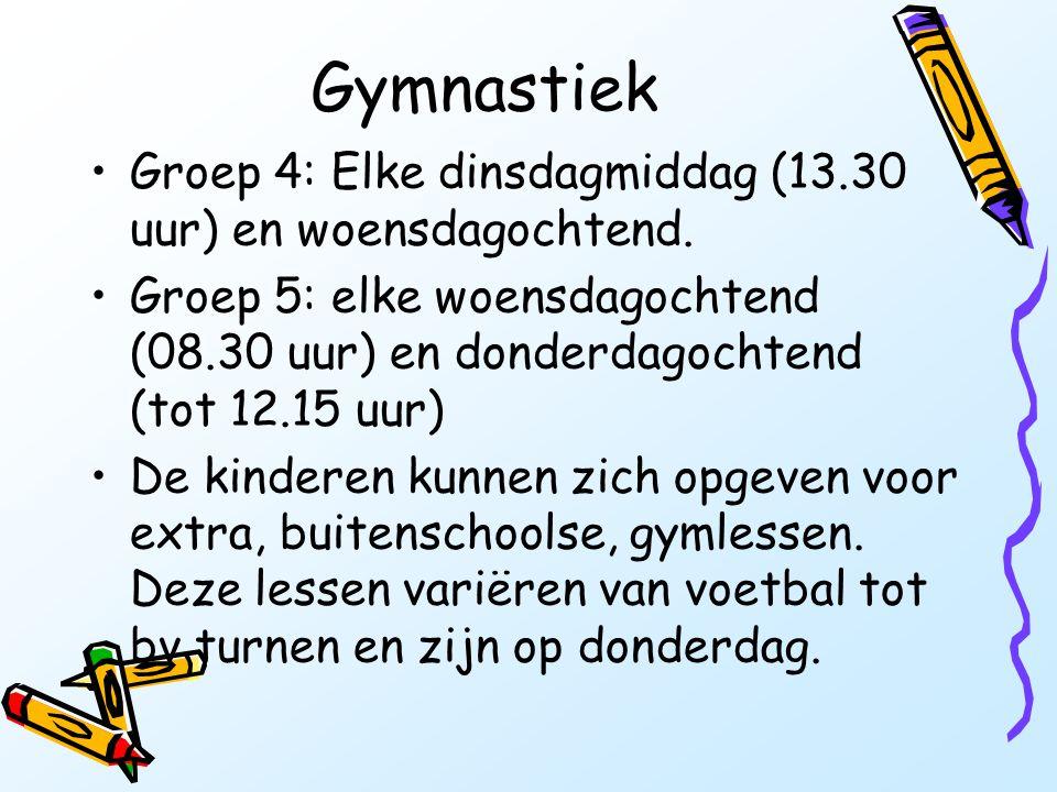 Gymnastiek Groep 4: Elke dinsdagmiddag (13.30 uur) en woensdagochtend.