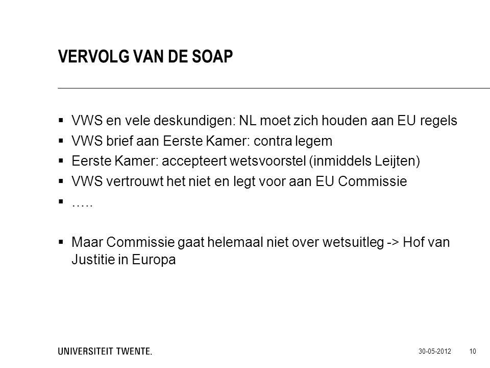 Vervolg van de Soap VWS en vele deskundigen: NL moet zich houden aan EU regels. VWS brief aan Eerste Kamer: contra legem.