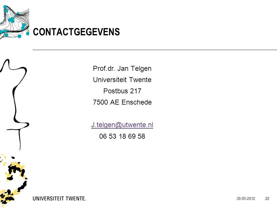 Contactgegevens Prof.dr. Jan Telgen Universiteit Twente Postbus 217 7500 AE Enschede J.telgen@utwente.nl 06 53 18 69 58