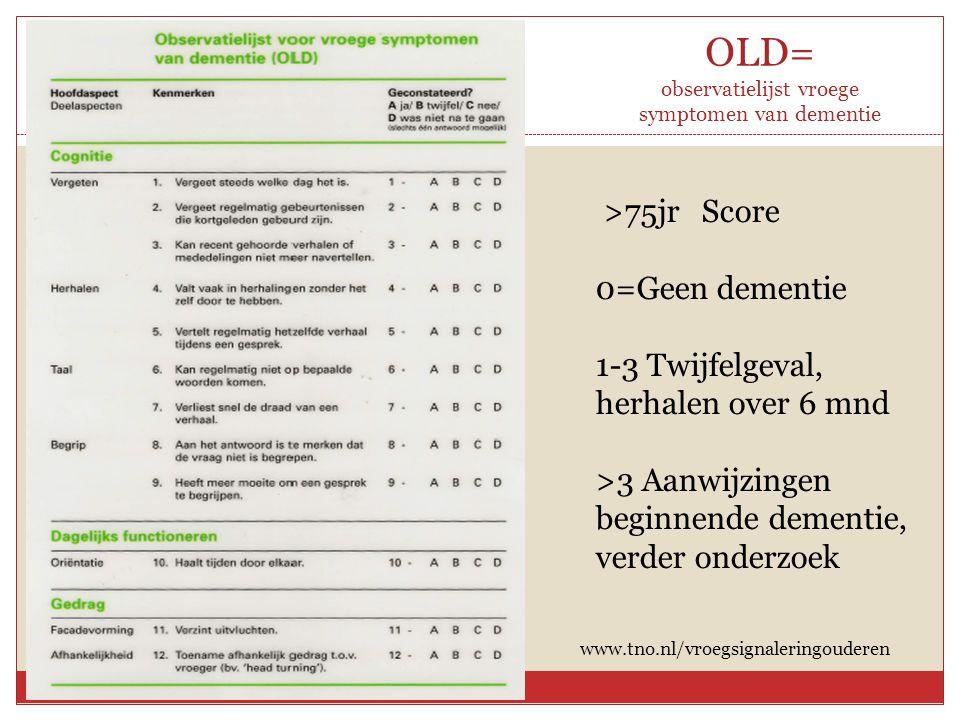 OLD= observatielijst vroege symptomen van dementie