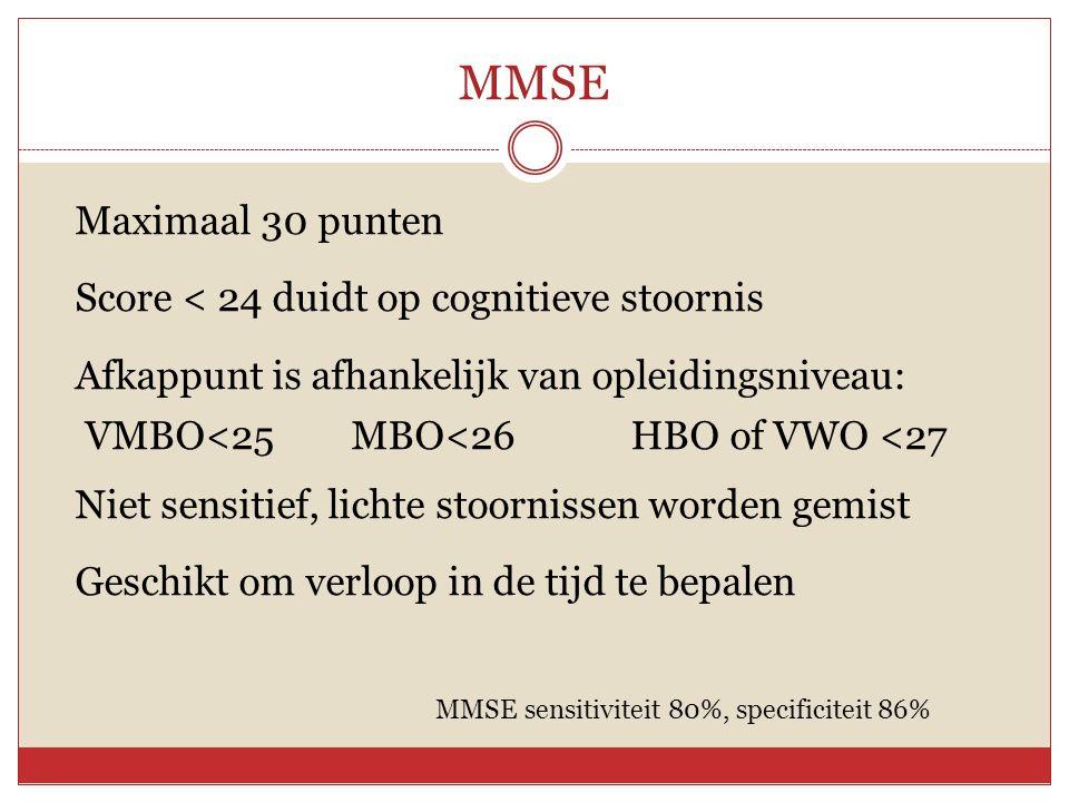 MMSE Maximaal 30 punten Score < 24 duidt op cognitieve stoornis