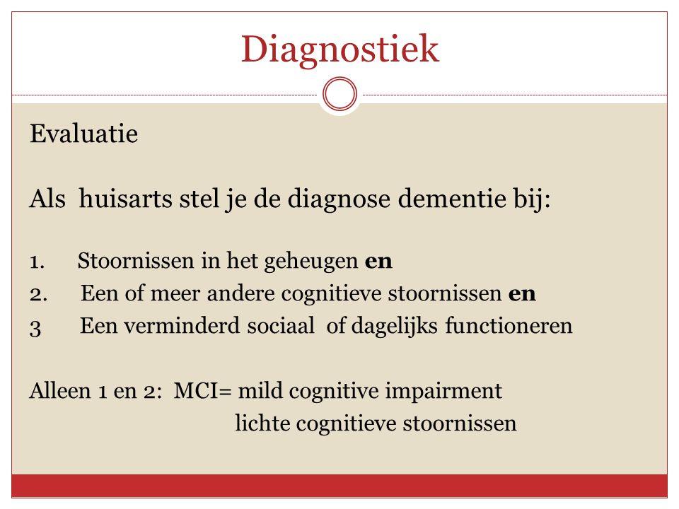 Diagnostiek Evaluatie Als huisarts stel je de diagnose dementie bij: