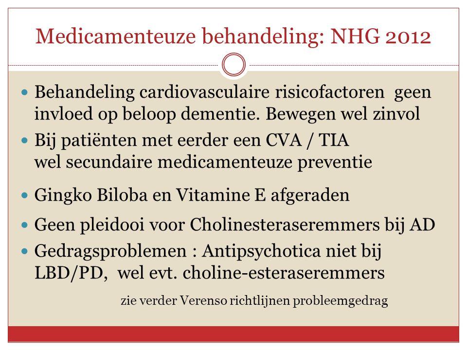 Medicamenteuze behandeling: NHG 2012
