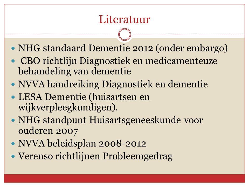 Literatuur NHG standaard Dementie 2012 (onder embargo)