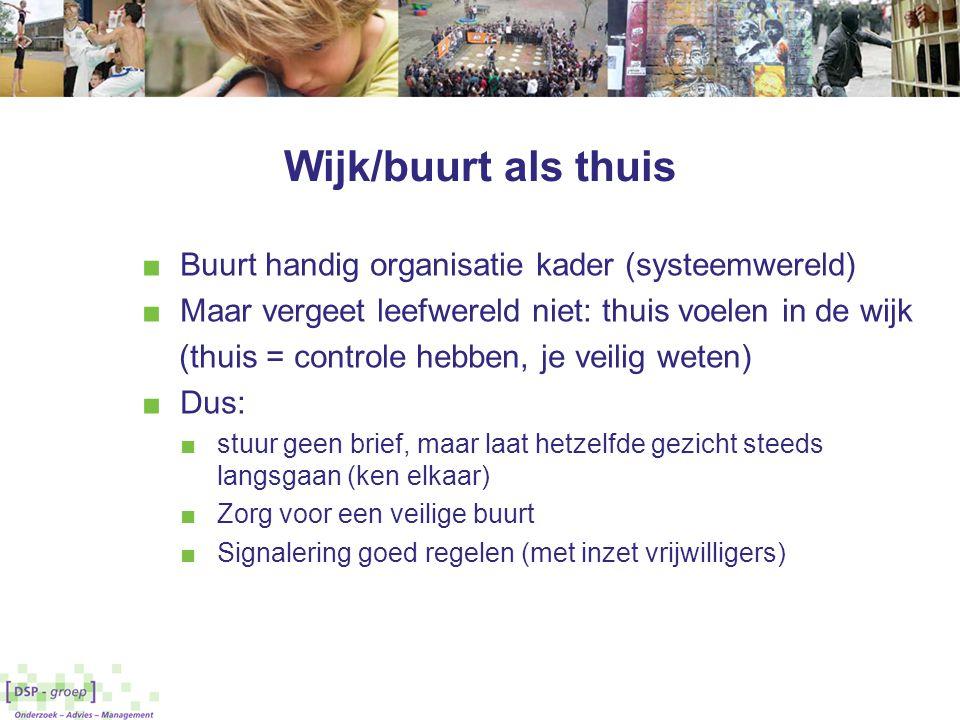 Wijk/buurt als thuis Buurt handig organisatie kader (systeemwereld)