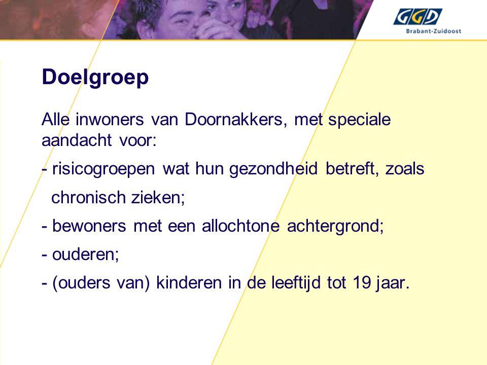 Doelgroep Alle inwoners van Doornakkers, met speciale aandacht voor: