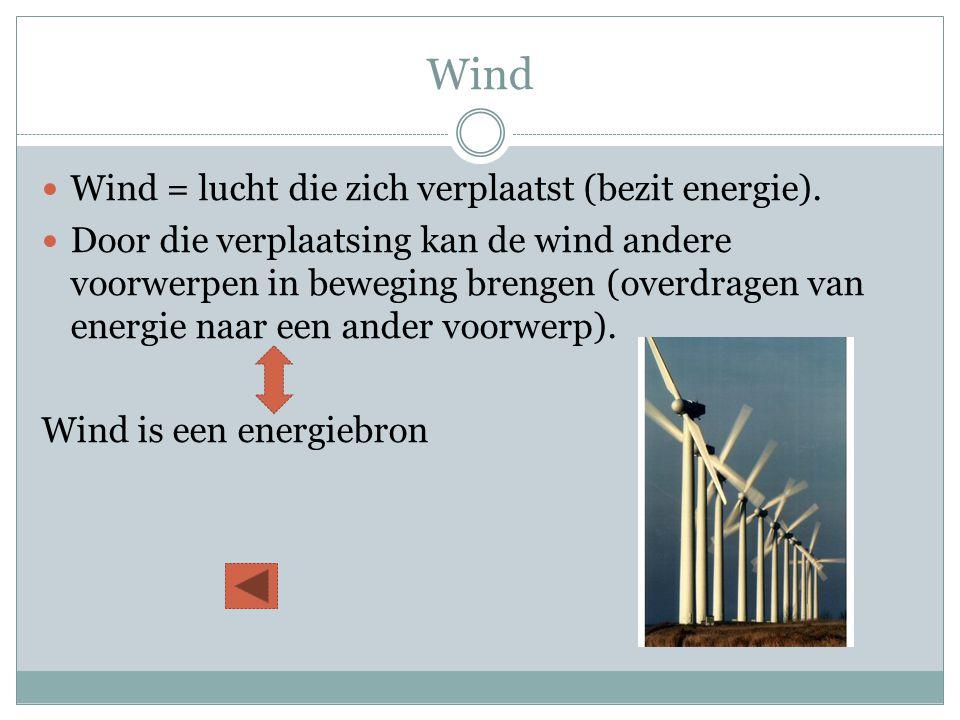 Wind Wind = lucht die zich verplaatst (bezit energie).