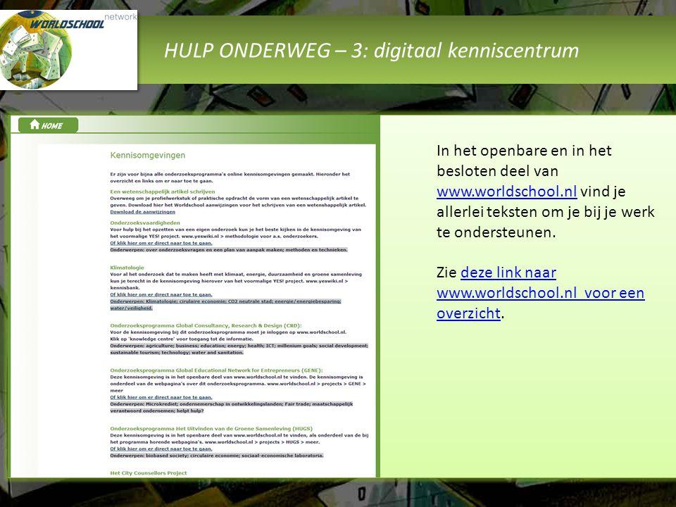 HULP ONDERWEG – 3: digitaal kenniscentrum