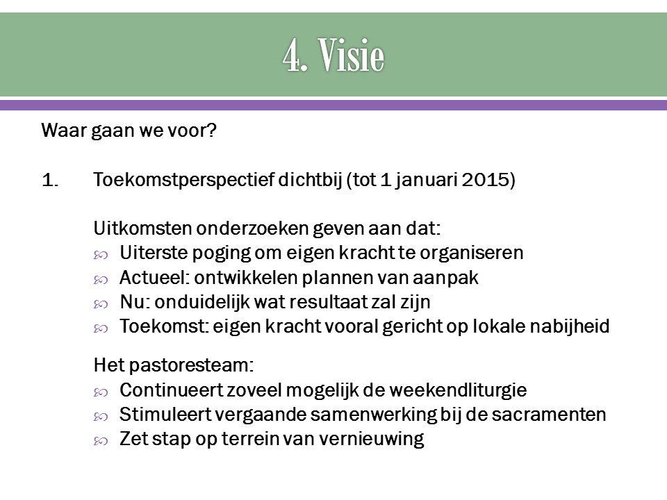 4. Visie Waar gaan we voor 1. Toekomstperspectief dichtbij (tot 1 januari 2015) Uitkomsten onderzoeken geven aan dat:
