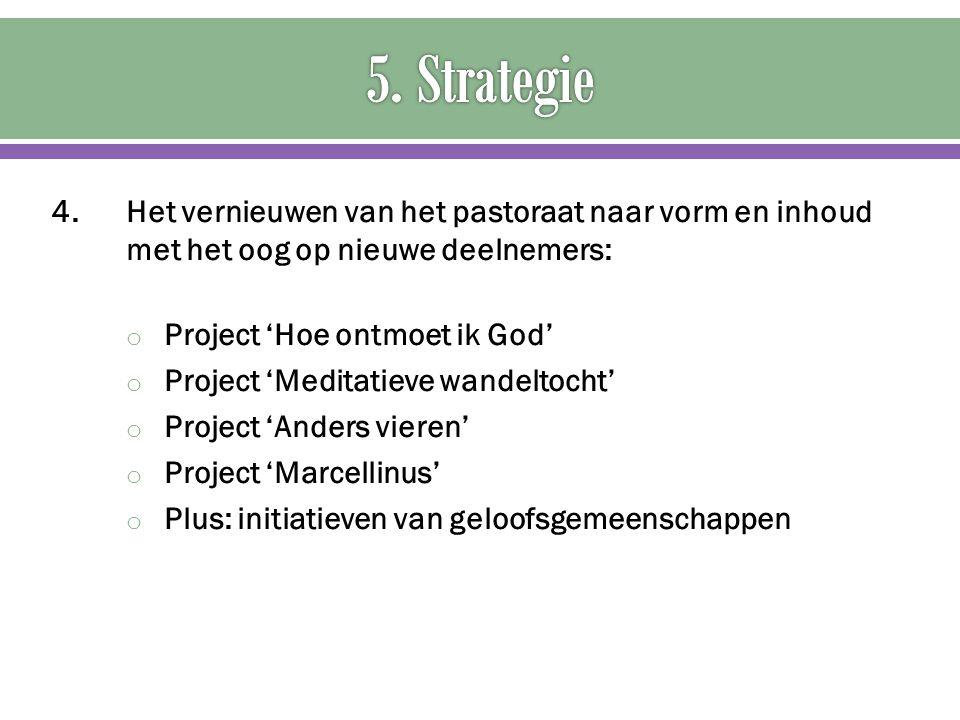 5. Strategie 4. Het vernieuwen van het pastoraat naar vorm en inhoud met het oog op nieuwe deelnemers: