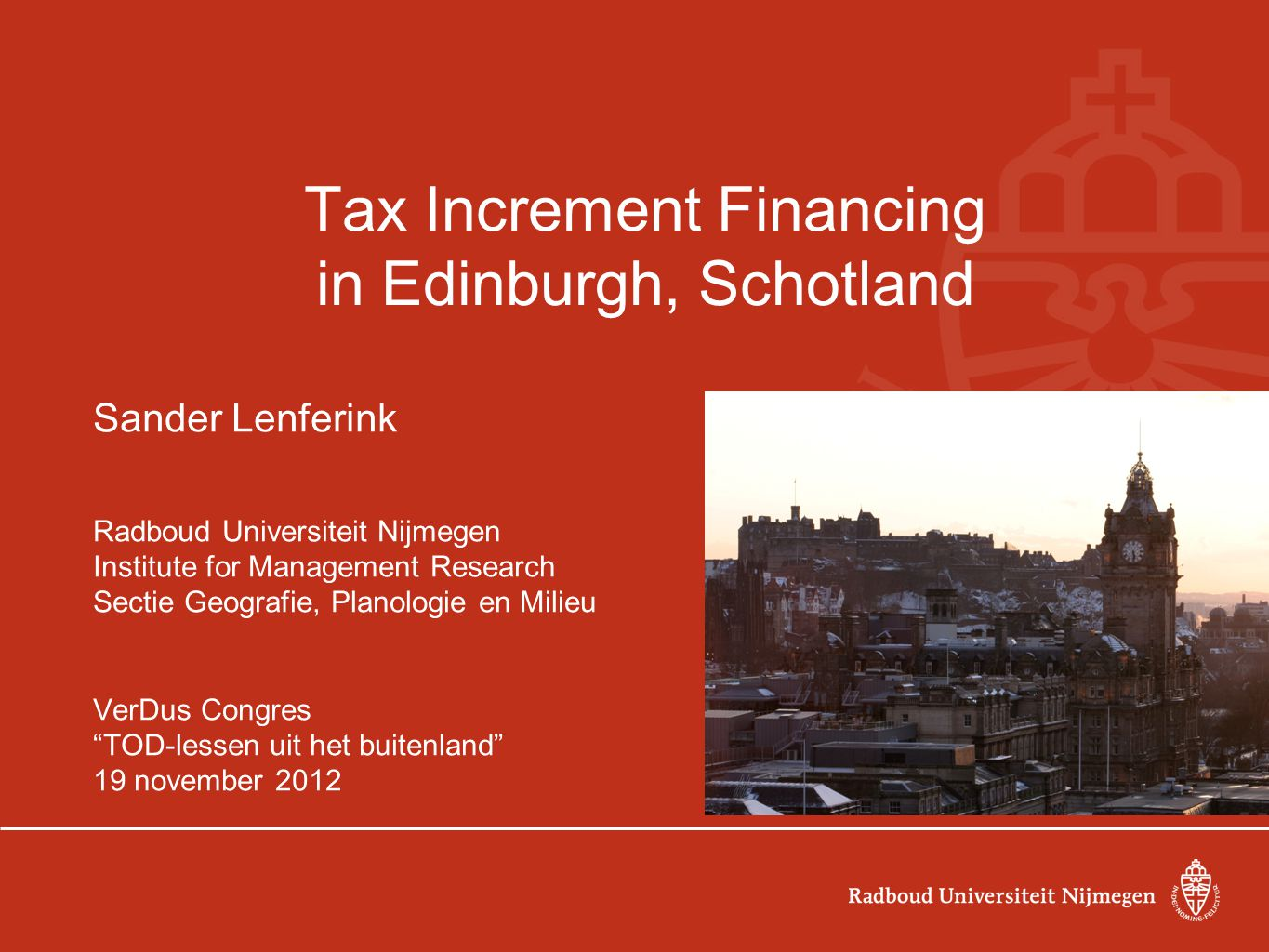 Tax Increment Financing in Edinburgh, Schotland