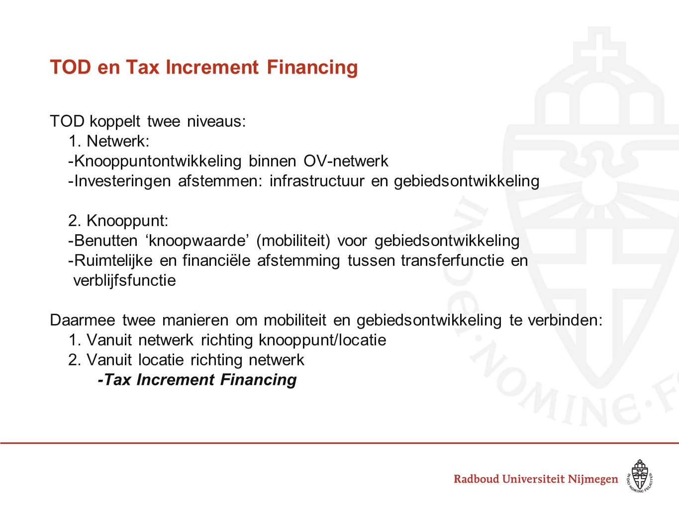 TOD en Tax Increment Financing