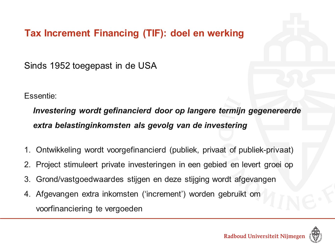 Tax Increment Financing (TIF): doel en werking