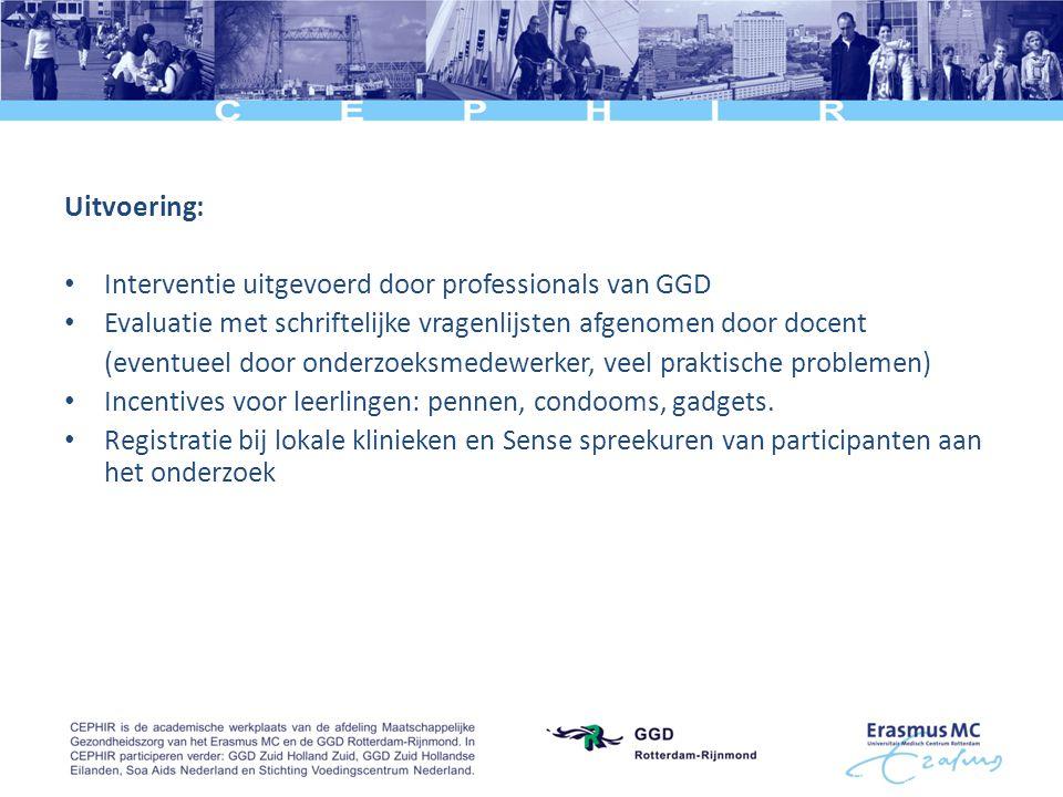 Uitvoering: Interventie uitgevoerd door professionals van GGD. Evaluatie met schriftelijke vragenlijsten afgenomen door docent.