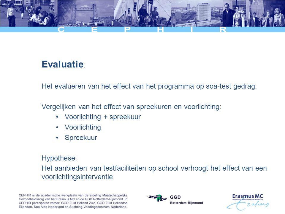Evaluatie: Het evalueren van het effect van het programma op soa-test gedrag. Vergelijken van het effect van spreekuren en voorlichting: