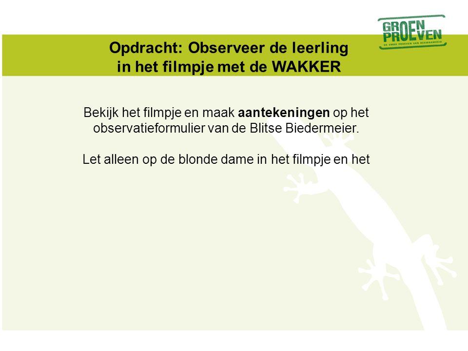 Opdracht: Observeer de leerling in het filmpje met de WAKKER