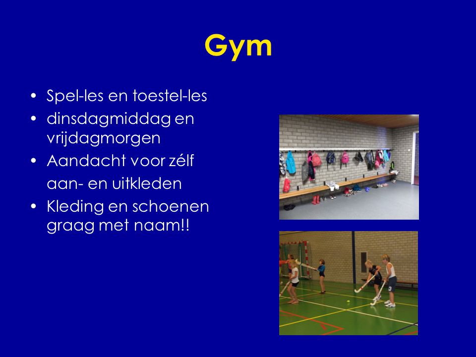 Gym Spel-les en toestel-les dinsdagmiddag en vrijdagmorgen