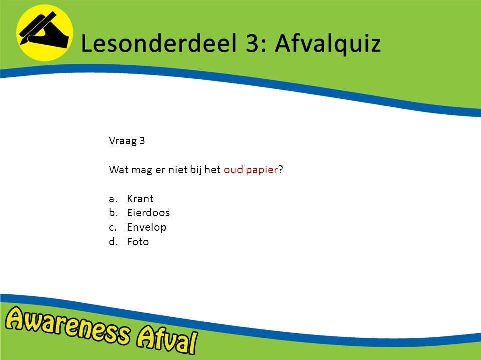 Vraag 3 Wat mag er niet bij het oud papier Krant Eierdoos Envelop Foto