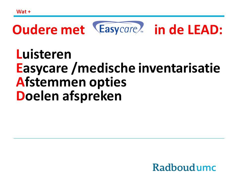 Easycare /medische inventarisatie Afstemmen opties Doelen afspreken