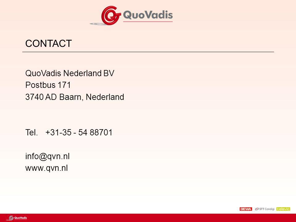 CONTACT QuoVadis Nederland BV Postbus 171 3740 AD Baarn, Nederland