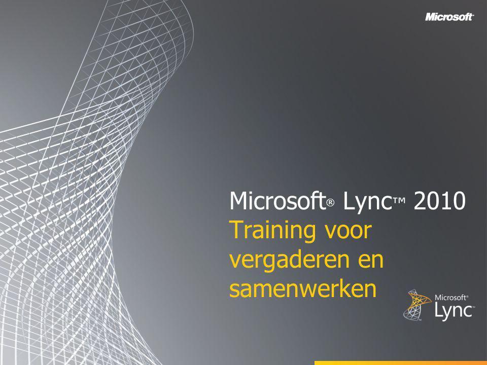 Microsoft® Lync™ 2010 Training voor vergaderen en samenwerken