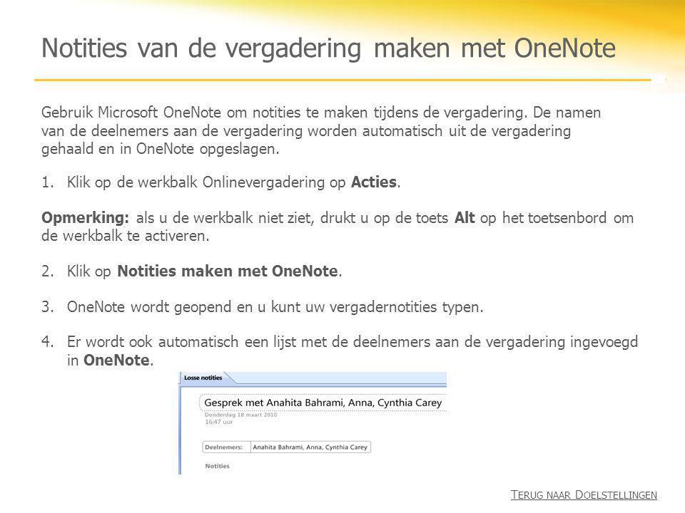 Notities van de vergadering maken met OneNote