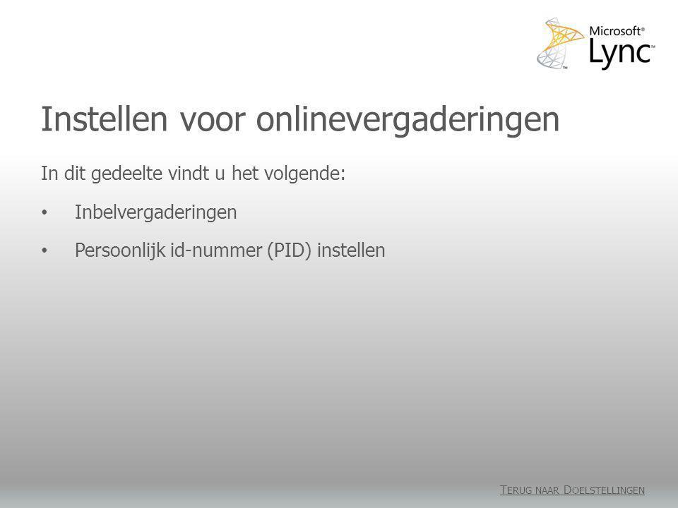 Instellen voor onlinevergaderingen