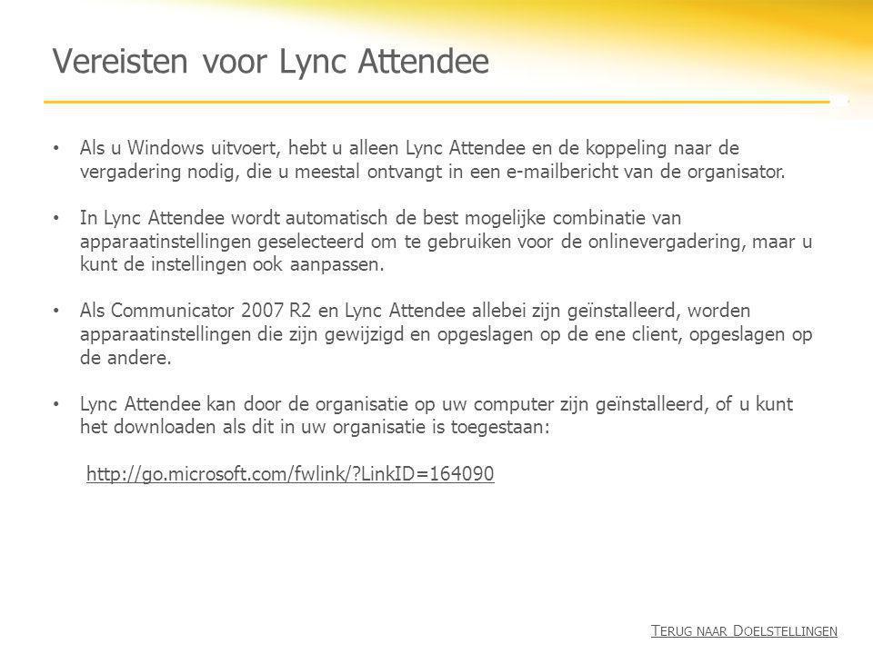 Vereisten voor Lync Attendee
