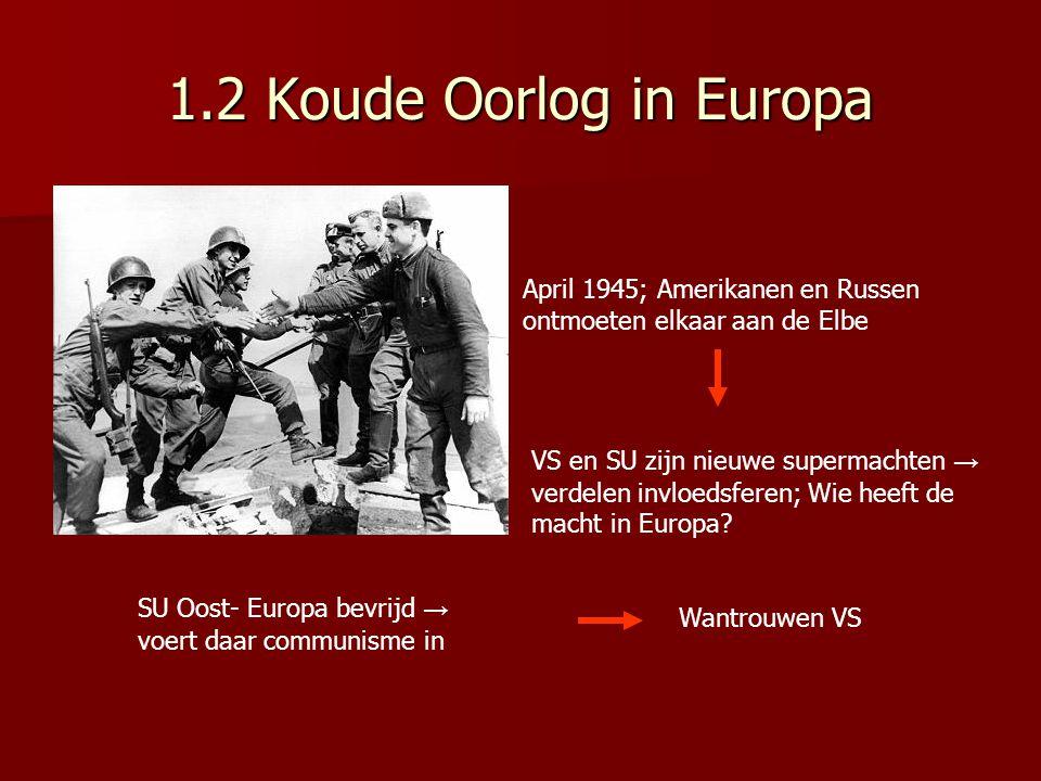 1.2 Koude Oorlog in Europa April 1945; Amerikanen en Russen ontmoeten elkaar aan de Elbe.