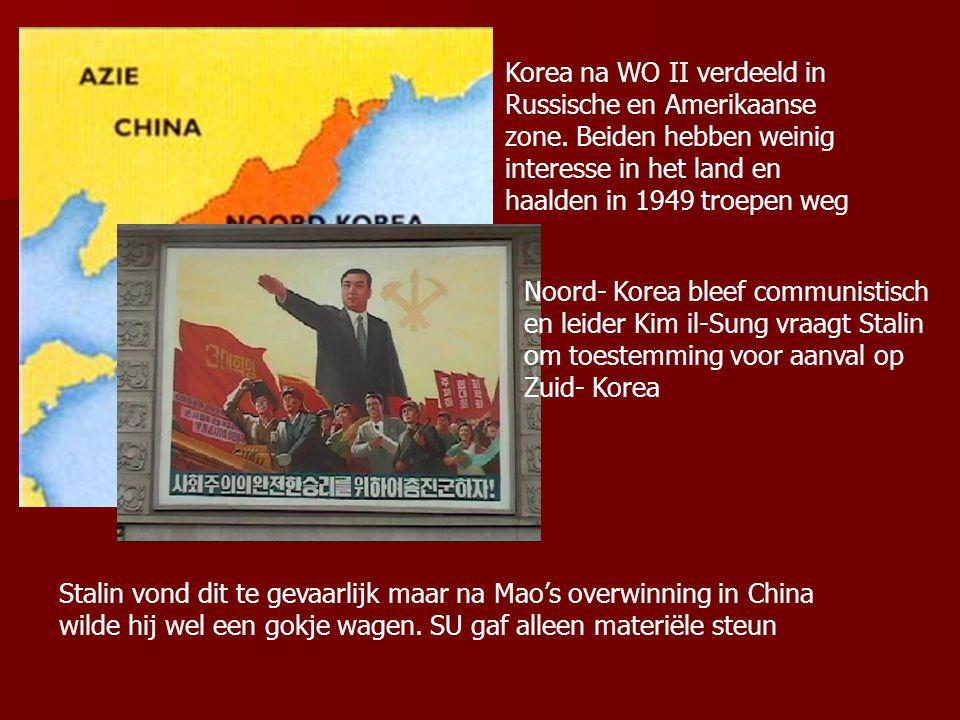 Korea na WO II verdeeld in Russische en Amerikaanse zone