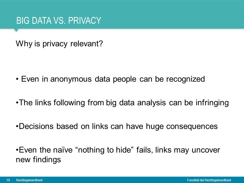 Big data vs. Privacy Why is privacy relevant