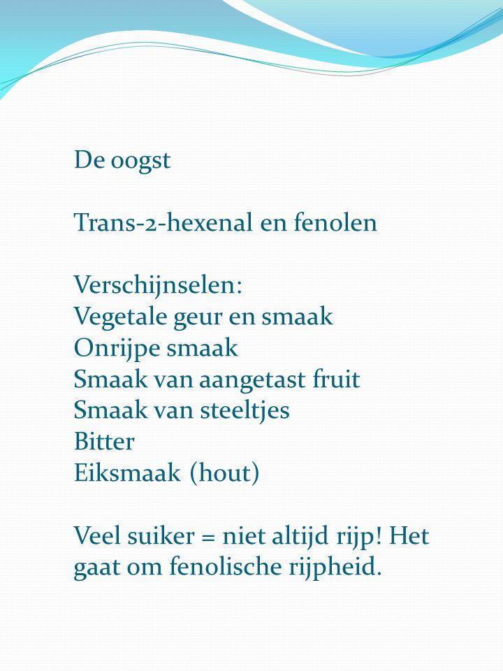 De oogst Trans-2-hexenal en fenolen. Verschijnselen: Vegetale geur en smaak. Onrijpe smaak. Smaak van aangetast fruit.