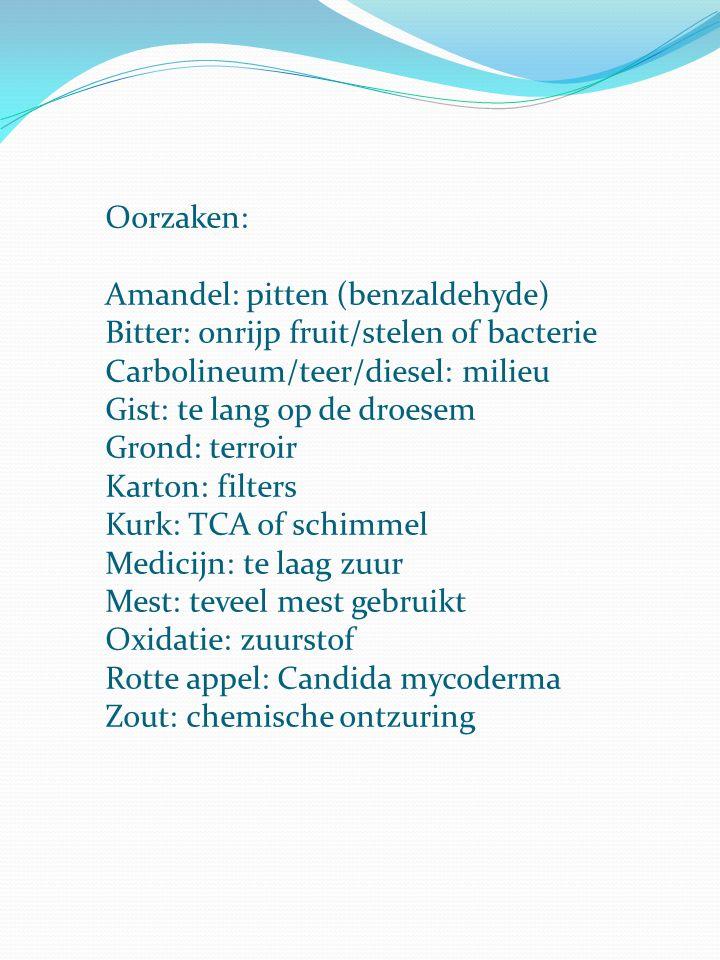 Oorzaken: Amandel: pitten (benzaldehyde) Bitter: onrijp fruit/stelen of bacterie. Carbolineum/teer/diesel: milieu.