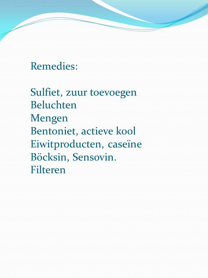 Remedies: Sulfiet, zuur toevoegen. Beluchten. Mengen. Bentoniet, actieve kool. Eiwitproducten, caseïne.