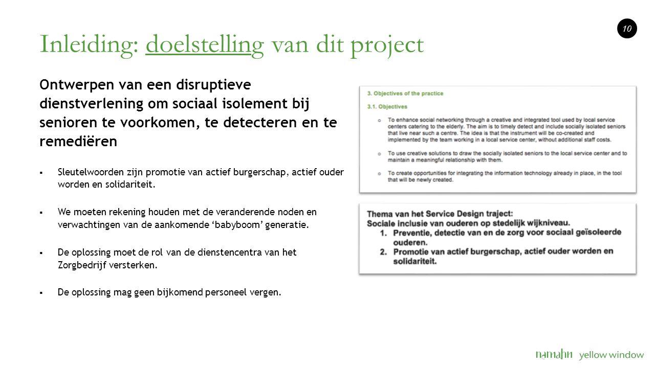 Inleiding: doelstelling van dit project