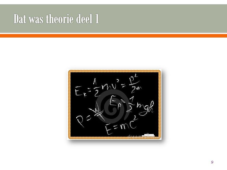 Dat was theorie deel 1 Typefout weggehaald. En tweede onderwerp qua titel aangepast.
