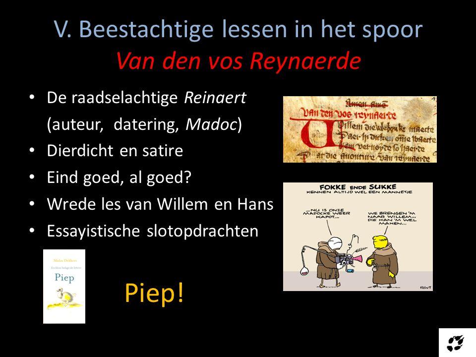 V. Beestachtige lessen in het spoor Van den vos Reynaerde