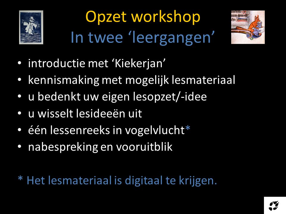 Opzet workshop In twee 'leergangen'